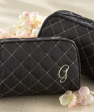 """Cosmetic Couture"" Quilted Monogrammed Make-Up Bag"