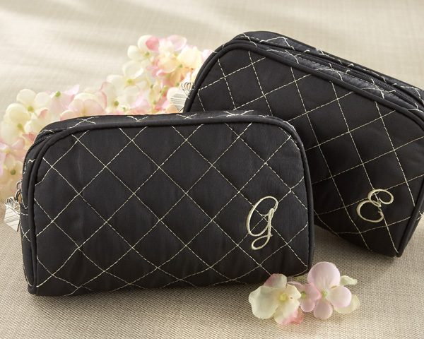 """""""Cosmetic Couture"""" Quilted Monogrammed Make-Up Bag"""