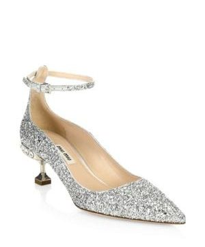 Crystal Glitter Ankle-Strap Pumps