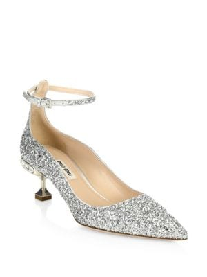Crystal Glitter Ankle-Strap Pumps