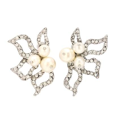 Crystal-embellished petal earrings