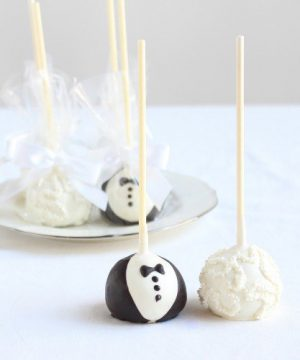 Custom Bride & Groom Cake Pops