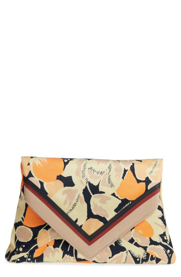 Dries Van Noten Floral Print Envelope Clutch -