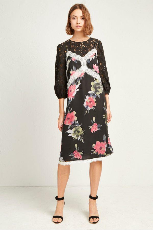 Edith Satin Devore Slip Dress - dark slate multi