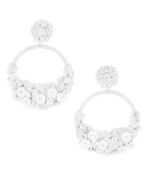Embellished Flower Hoop Clip-On Earrings