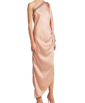 Embellished Silk Satin Draped Gown