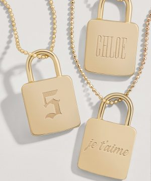 Engravable Lock Pendant Necklace