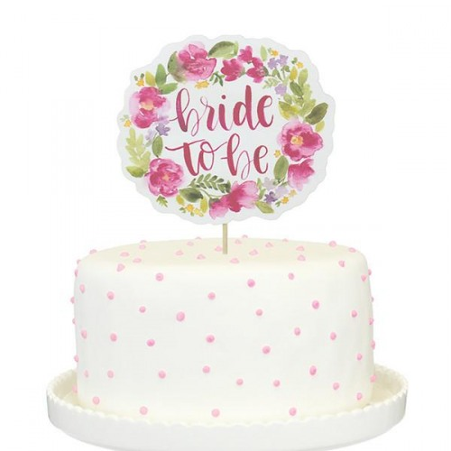 Floral Bride to Be Paper Cake Topper