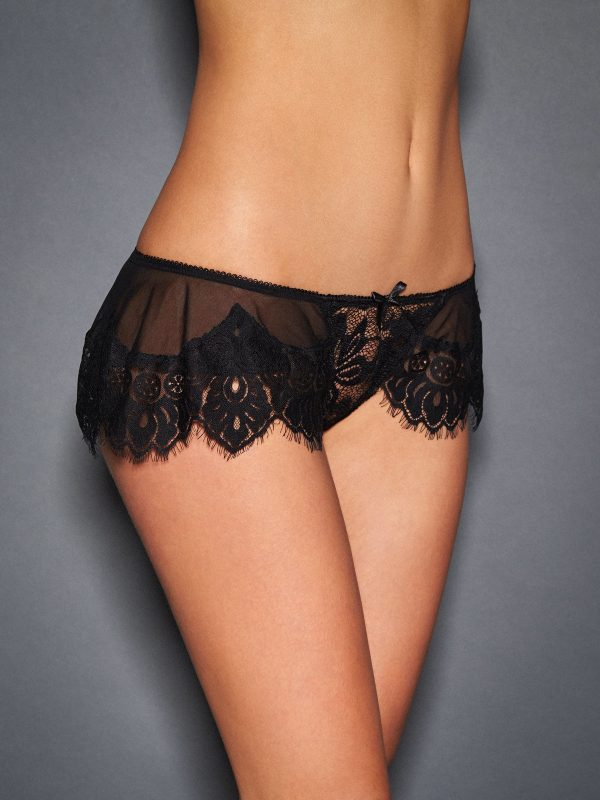 Frederick's of Hollywood Stephanie Eyelash Lace Ruffled Thong