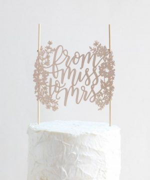 From Miss to Mrs Paper Cake Topper