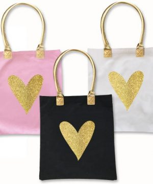 Glitter Heart Tote Bag