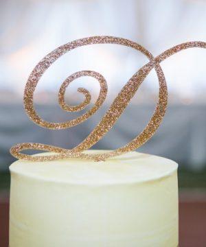 Glitter Initial Cake Topper