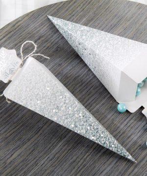 Glitter Snowflake Cone Favor Box