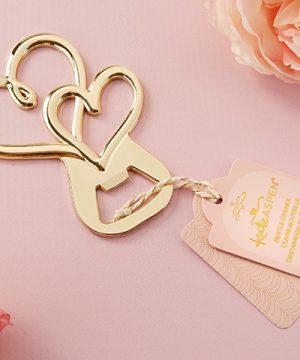 Gold Double Heart Bottle Opener
