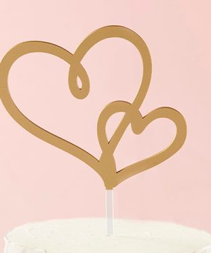 Gold Double Heart Cake Topper