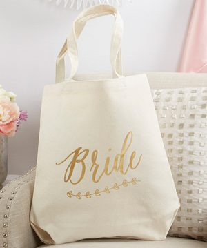 Gold Foil Bride Canvas Tote (Personalization Available)