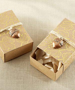 Gold Foil Leaf Favor Box with Acorn Charm (Set of 24)