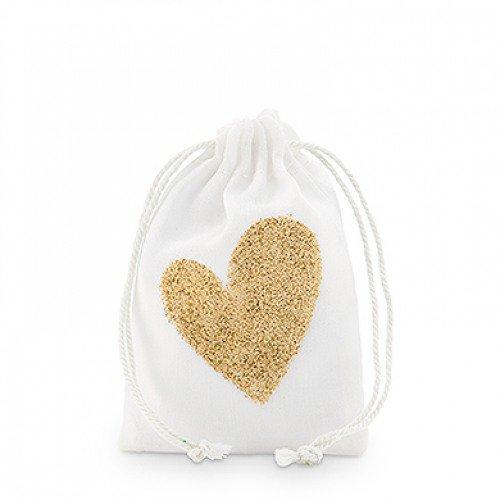 Gold Glitter Heart Muslin Favor Bags