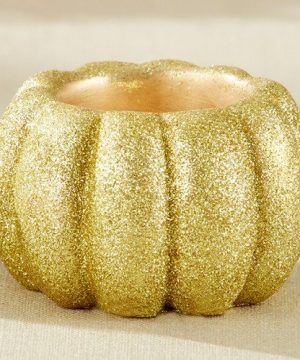 Gold Glitter Pumpkin Party Votive Holder