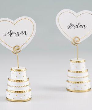 Gold Wedding Cake Place Card Holder (Set of 6)