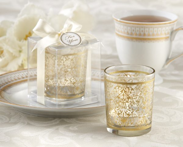 """Golden Renaissance"" Glass Tea Light Holder (Set of 4)"