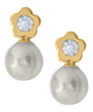 Infant Girl's Mignonette Gold Flower & Cultured Pearl Earrings