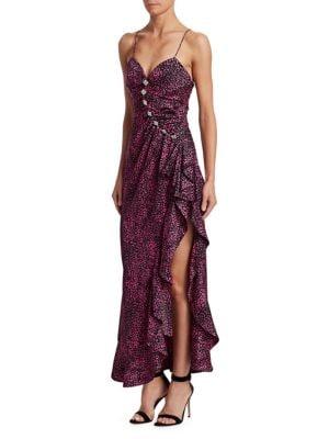 Jacquard Silk Embellished Slip Dress