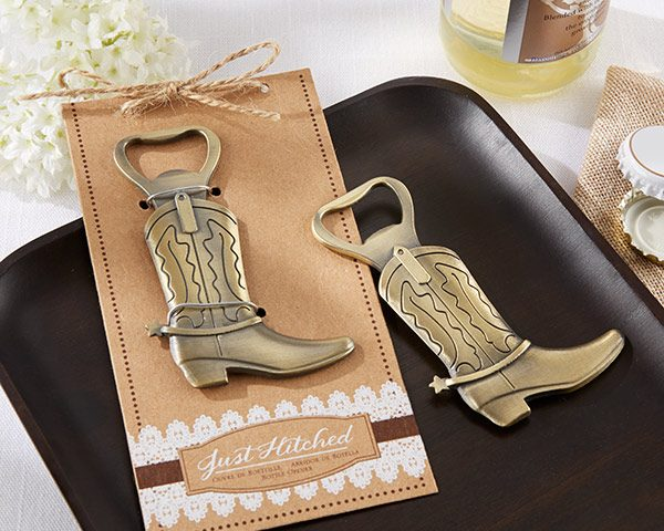 """""""Just Hitched"""" Cowboy Boot Bottle Opener"""