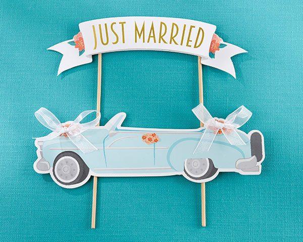 Just Married Vintage Car Cake Topper