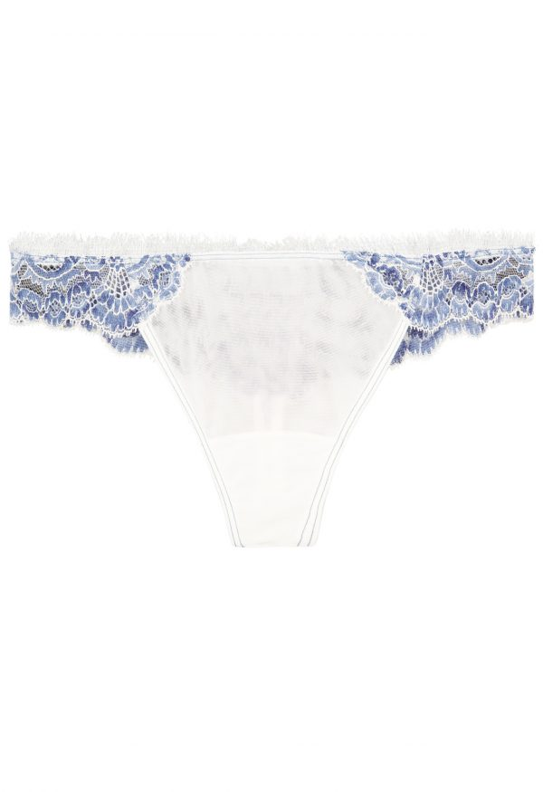 La Perla - Amethyst White And Blue Tulle Thong Panty Panty Briefs With Leavers Lace Trim For Women - Size XXXS - Natural
