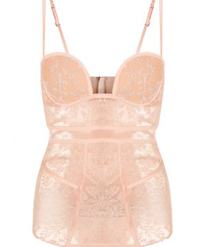 La Perla - Autografo Padded Bodysuit Lingerie In Embroidered Tulle For Women - Size 34 B - Beige