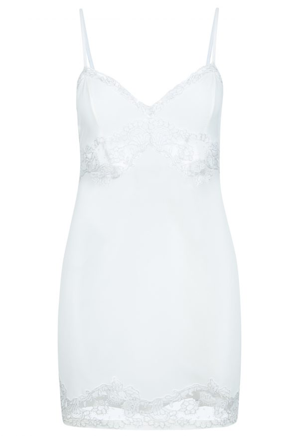 La Perla - Castle Garden Off-White Prince Of Wales Silk Lingerie Slip With Frastaglio Embroidery For Women - Size XS