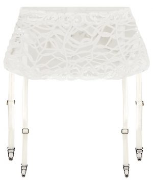 La Perla - Desert Rose Off-White Leavers Lace And Soutache Suspender Belt For Women - Size S