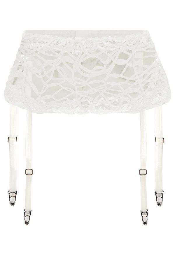 La Perla - Desert Rose Off-White Leavers Lace And Soutache Suspender Belt For Women - Size S