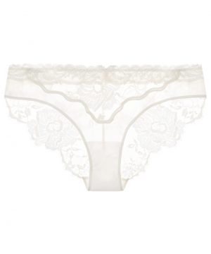 La Perla - Desert Rose Off-White Leavers Lace Medium Panty Brief With Soutache Embroidery For Women - Size XXXS