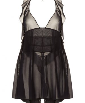 La Perla - Elements Black Silk Georgette Babydoll Lingerie With Lurex Embroidery For Women - Size S