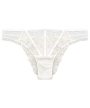 La Perla - Elements Off-White Brazilian Panty Brief With Lurex Embroidery For Women - Size 2XS