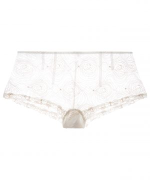 La Perla - Elements Off White French Knickers Underwear With Lurex Embroidery For Women - Size XL