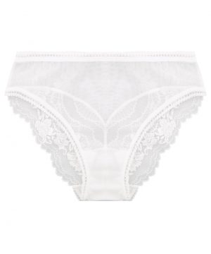 La Perla - Lapis Lace Off-White Leavers Lace Medium Panty Brief For Women - Size S