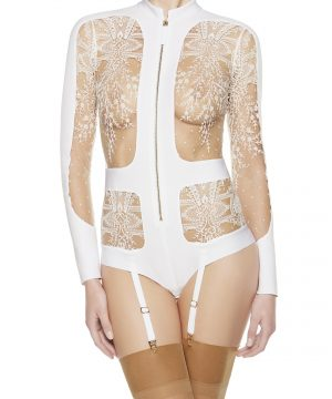 La Perla - Neoprene Desire Bodysuit Lingerie For Women - Size 6 - White