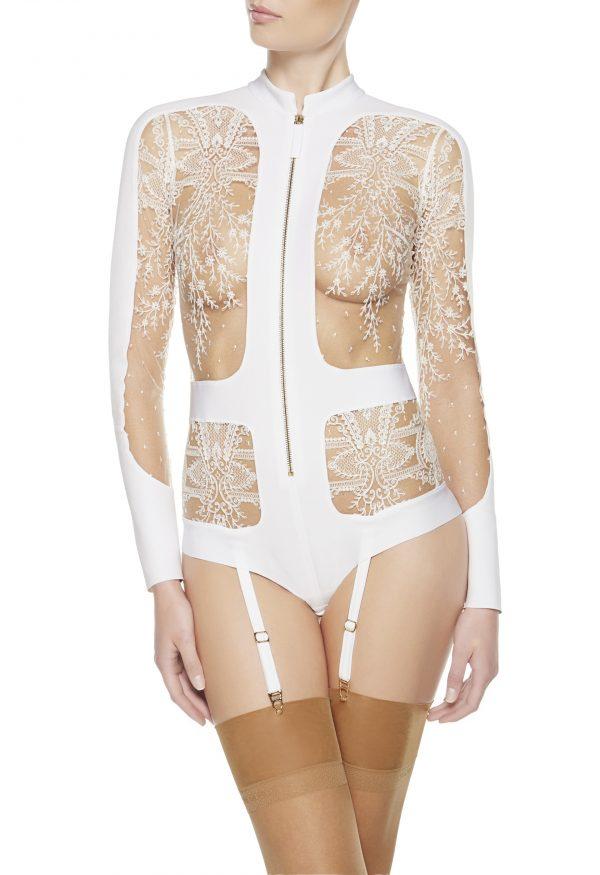 La Perla - Neoprene Desire Bodysuit Lingerie For Women - Size 6 - White