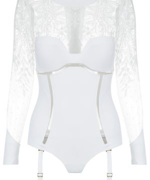 La Perla - Neoprene Desire Bodysuit Lingerie With Suspender Straps For Women - Size 34 B - White - Padded