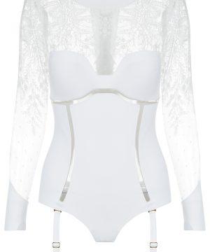 La Perla - Neoprene Desire Bodysuit Lingerie With Suspender Straps For Women - Size 34 B - White - Padded