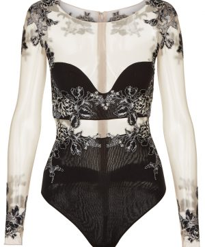 La Perla - Peony Black Bodysuit Lingerie In Embroidered Stretch Tulle And Silk Georgette For Women - Size 36 B