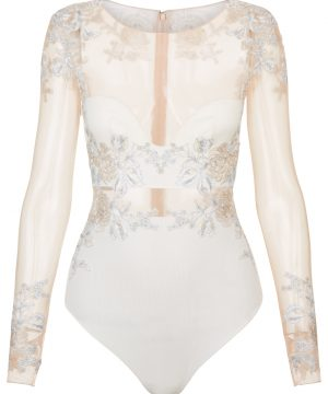 La Perla - Peony Off-White Bodysuit Lingerie In Embroidered Stretch Tulle And Silk Georgette For Women - Size 32 C