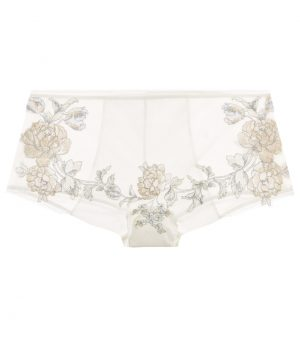La Perla - Peony Off-White Embroidered Tulle Panty Briefs For Women - Size XS