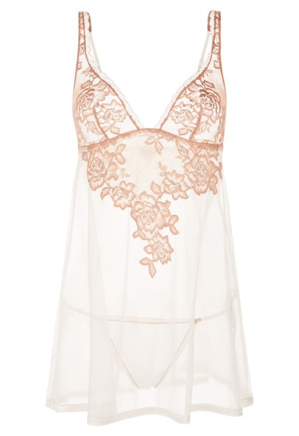 La Perla - Privilege Baby doll Lingerie With Panty Brief For Women - Size L - Natural - Lycra
