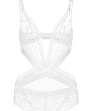 La Perla - Wisteria Off-White Underwired Leavers Lace And Silk Satin Bodysuit Lingerie For Women - Size 36 B