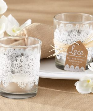 """Lace"" Glass Tea Light Holder (Set of 4)"