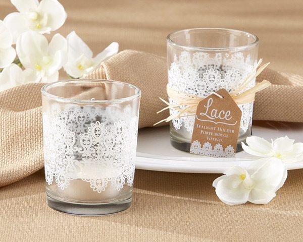 """Lace"" Glass Tea Light Holder (Set of 4)"